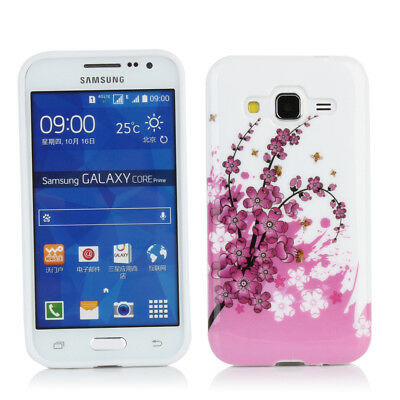 Gel Case + LCD Protector for Samsung Galaxy Core Prime G360 -White /Pink Blossom
