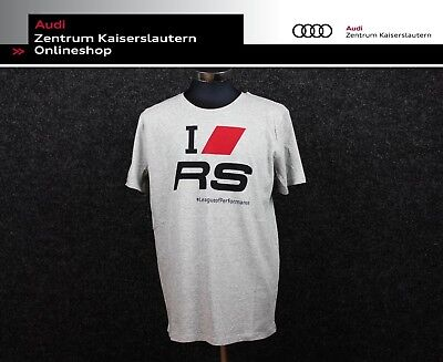 "Audi RS T-Shirt ""I Love RS"" Herren Hellgrau 313170140 Shirt RS-Modelle"