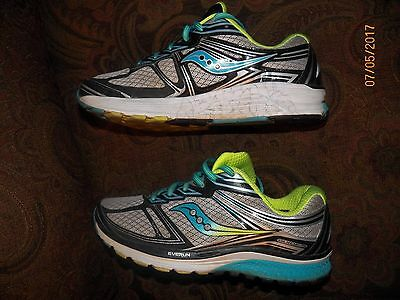 Saucony Women's Guide 9 Running Shoes, Blue/Gray/Citron - Size 9.5