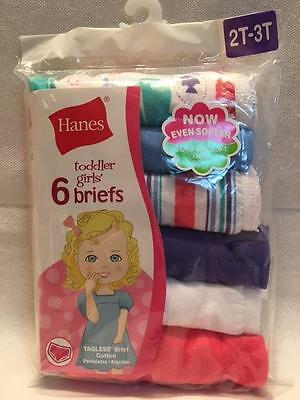 Hanes® 6 Pack Toddler Girl's Briefs  2T-3T