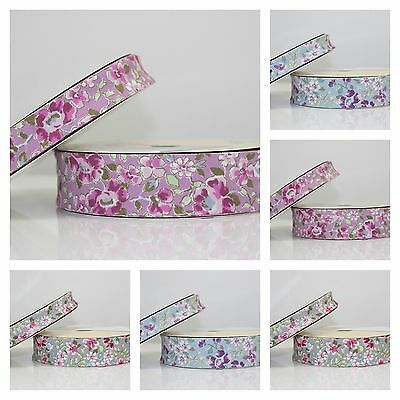 COTTAGE FLORAL FOLDED BIAS BINDING COTTON 18mm or 30mm width - 1m 5m or 20m ROLL