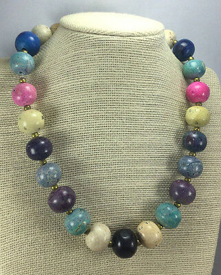 Vintage Style Necklace Ceramic or Stone Dyed Multi Color & Brass Chunky Choker