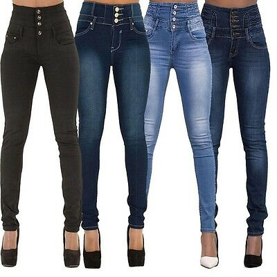 Womens Ladies High Waisted Blue Skinny Fit Jeans Stretch Denim Size 6-16 LTR2