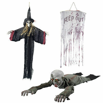 Smiffys Halloween Scary Hanging Decorations Undead Light Up Animated Skeletons