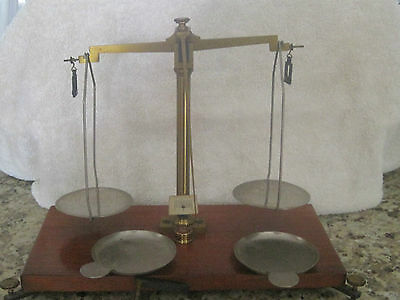Antique French brass scale wood base