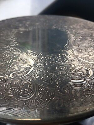 "Set of 6 Vintage Silver Plated Place Mats 7"" 18cm in diameter green felt back"