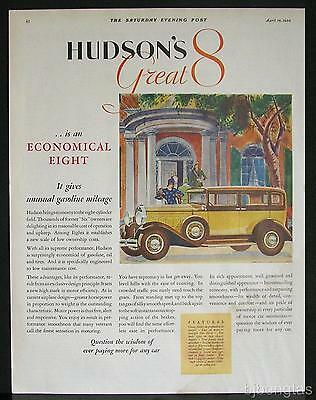 1930 Yellow Hudson Motor Car Great Eight Art Deco Vintage Print Ad