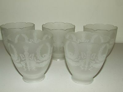 Antique Set of 5 Matching Etched Victorian Frosted Pendant Tulip Lamp Shades