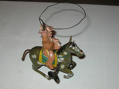 Vintage Tin Windup Toy; Mounted Cowboy With Lasso; Alps, Japan, 1950s, Works