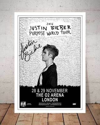 Justin Bieber Purpose 2016 London O2 Concert Flyer Autograph Signed Photo Print