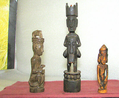 3 DAYAK SMALL STATUES FIGURES TOPPERS BORNEO CARVED HARDWOOD EARLY MID 1900's