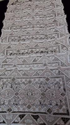 Antique Vintage Madeira Mats Set Linen Hand Embroidery Eight Pieces Exceptional