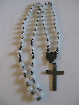 """Antique White Glass Bead & Brass Rosary 25"""" long"""