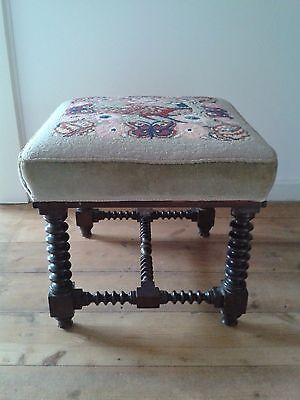 Victorian Square Stool Woolwork Upholstery Turned & Ringed Legs