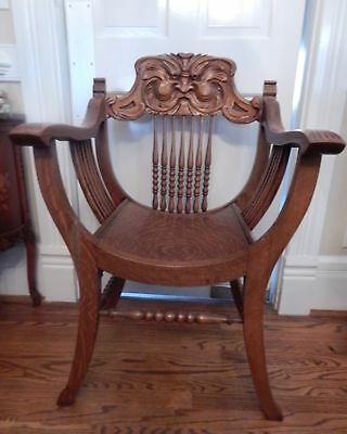 Antique Honey Oak Savonarola Arm Chair North Wind Face