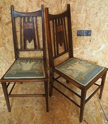 Pair of Arts and Crafts Hall Chairs Inlaid Motif c1905