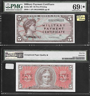 **pop 1 Finest Known** Pmg 69Epq *star* $5 Series 691 ((Military Payment))