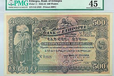 Pk-11 1932-33 Ethiopia 500 Thalers Lion King Pmg 45 Scarce Note - High Condition