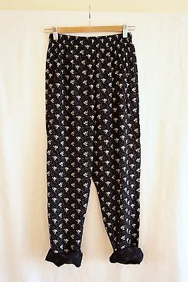 Vintage 90s Black White Floral High Waist Tapered Peg Leg Slouch Trousers XS/S/M