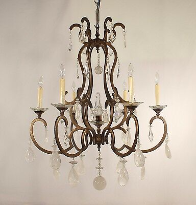 6 Light Wrought Iron Chandelier with Rock Crystal & Crystal Bobeches