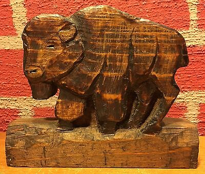Vintage Wood Carving - Buffalo - Solid Wood - Estimated 25 years old or more