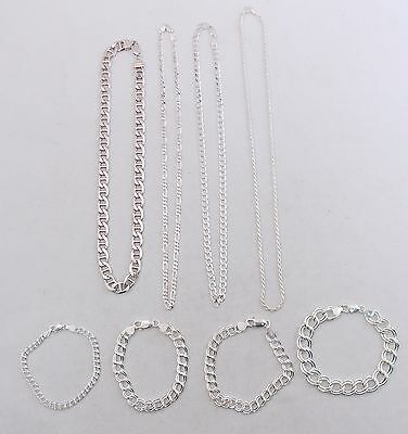 Sterling Silver Necklaces Mariner Figaro & Starter Charm Bracelets Jewelry Lot