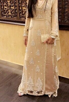Pakistani Indian Asian Elegant Suit Dress Beige Gold Heavy Embroidery Size S8-10