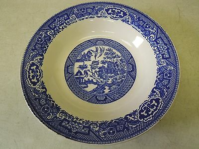 """Vintage Willow Ware, Blue Willow, 8 1/4"""" Rimmed Soup Bowl ~ Royal China ~ NICE"""