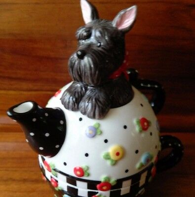 Mary Engelbreit Tea For One, 3 Piece 2002 Michel Teapot, Scottie Dog