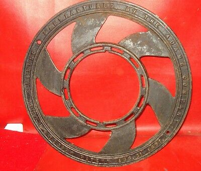 VINTAGE CAST IRON wall plate stove pipe flue cover grate NICE picture frame gril