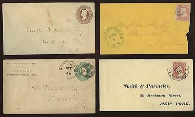 4 OLD Postal History Covers~1860s~lot#1