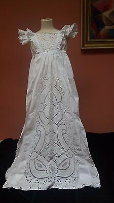 Antique victorian 1800s hand embroidered christening gown dress stunning chikan