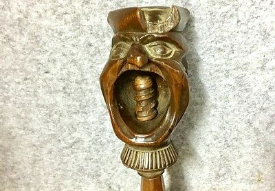 Rare Antique Georgian Treen Nut Cracker Double Character Faces