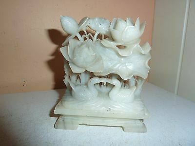 Vintage Chinese 10.7Cm High Soapstone Model Of 2 Birds With Lotus &leaf On Stand