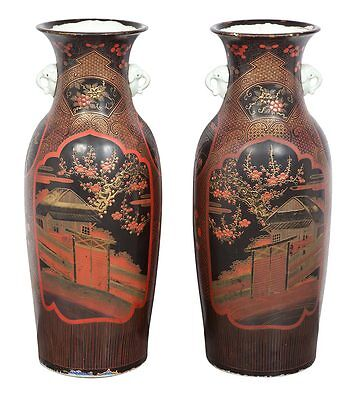 Pair Japanese Palace Floor Vase Meiji Lacquer Porcelain Red Black Duquette Style