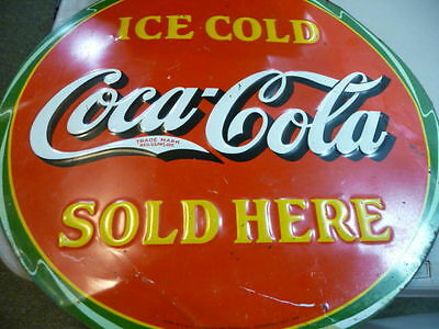 Ice Cold Coca Cola Sold Here-Embossed Metal Sign- 1932- FREE SHIPPING