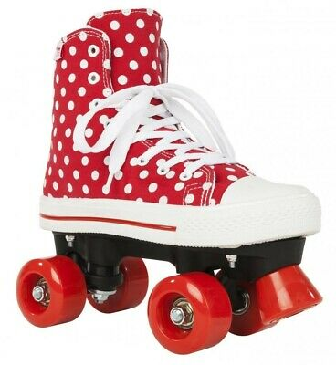 Rookie Canvas Junior/Adult Size Roller Quad Skates - Red Polka Dot