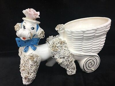 "Vintage Lefton Spaghetti Glass 5""x7""Poodle with Turquoise Bow Pulling Cart/Vase"