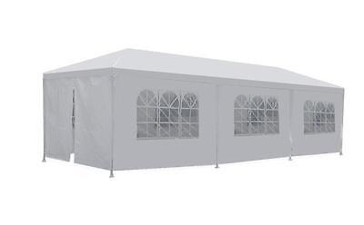 New White 10'x30' Party Wedding Outdoor Tent Canopy Gazebo w/ 8 Removable Walls