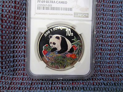 1999 China Panda 10 Yuan 1oz Silver Colorized NCS / NGC PF69UC