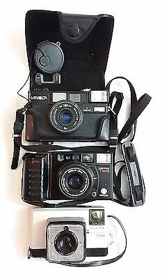 Lot of 3 Vintage Minolta Cameras + Case. Untested. Selling As Is. No returns.