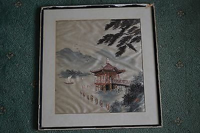 Vintage Chinese / Oriental Silk Embroidery picture Signed