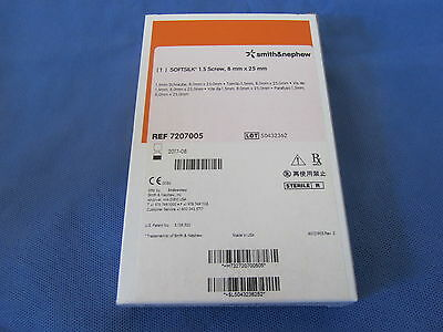 Smith&Nephew SOFTSILK ACL Interference screw, 8mm x 25mm, 7207005, In Date!