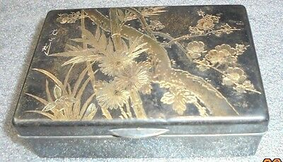 fine antique Japanese sterling silver teak wood cigarette box