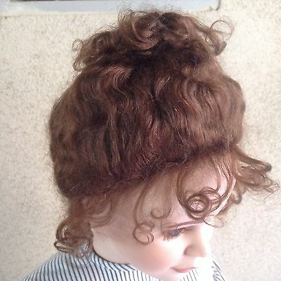 """Doll Wig, Stobe 15"""", For A Doll With A Large Head. Mohair Color Medium brown"""