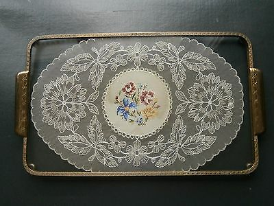Vintage brass ,glass and lace silk doily embroidered vanity tray