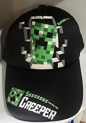 NEW! Minecraft Creeper Face Snap Back Hat Gamer Black Baseball Cap Adjustable