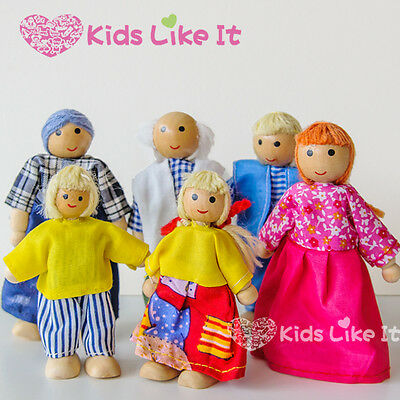 Kids GIRLS Dressed Wooden Miniature 6pcs Dolls FAMILY Match with DOLL HOUSE