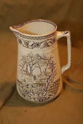 "Antique 8"" Brown Transferware T & R Boots England YOSEMITE Pitcher"
