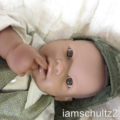 "19"" Ethnic African American Sweet Face Berenguer Boy Baby Doll ~ For Reborn/Play"